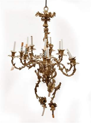 Louis XVI-Style Gilt Metal Chandelier