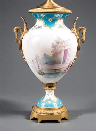Bronze-Mounted Sevres-Style Porcelain Vase