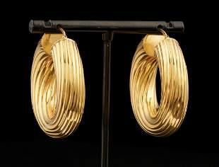 European 18 kt. Yellow Gold Hollow Hoop Earrings