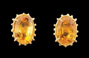 14 kt. Yellow Gold and Citrine Stud Earrings
