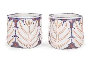 Gilt Decorated Glazed Earthenware Jardinieres