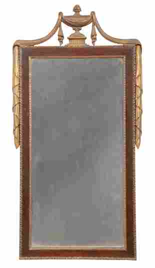 Adam-Style Carved and Parcel Gilt Mahogany Mirror