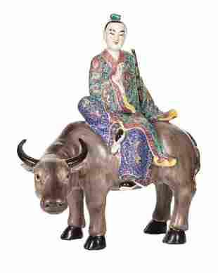 Chinese Famille Rose Boy on Buffalo Figural Group