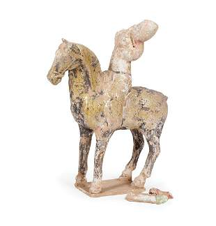 Chinese Painted, Glazed Pottery Equestrian Group