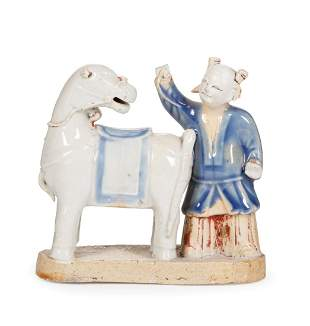 Chinese Blue, White, Biscuit Glazed Figural Group