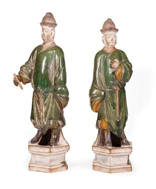 Two Chinese Sancai Glazed Pottery Attendants
