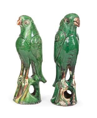 Two Chinese Sancai Glazed Pottery Parrots