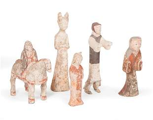 Chinese Painted Pottery Figures and Figural Group