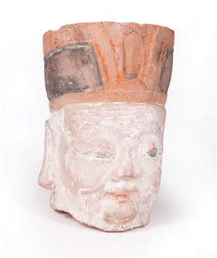 Chinese Painted Terracotta Head