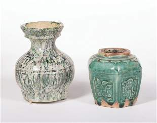 Two Chinese Glazed Pottery Vases