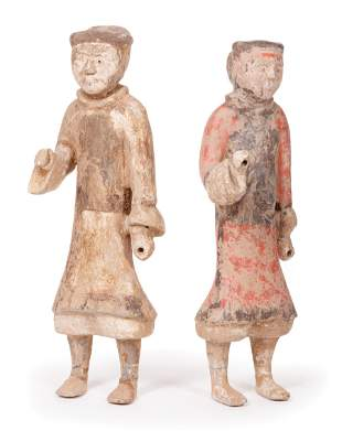 Two Large Chinese Painted Pottery Soldiers