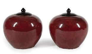 Chinese Flambe Glazed Porcelain Globular Jars