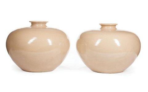 Pair of Chinese Ge-Style Porcelain Globular Vases