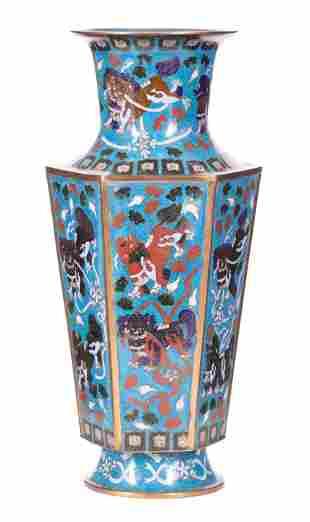 Chinese Cloisonne Enamel Hexagonal Vase