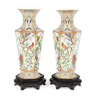 Pair of Chinese Cloisonne Enamel Hexagonal Vases