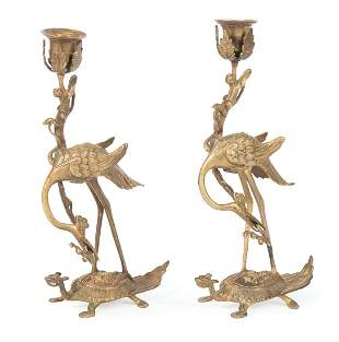 Chinese or Chinese-Style Bronze Candle Stands