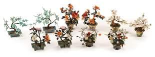 Chinese Hardstone Trees in Cloisonne Enamel Pots