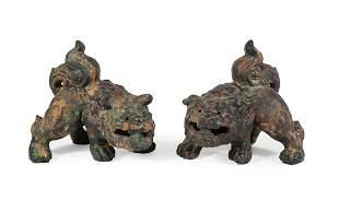 Pair of Cast Iron Buddhist Lions