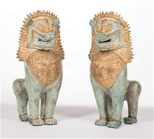 """Thai Gilt and Patinated Metal """"Temple"""" Lions"""