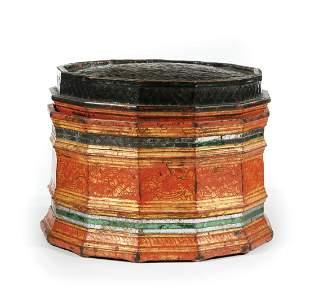 Thai Mirror-Embellished Bamboo Basketry Box