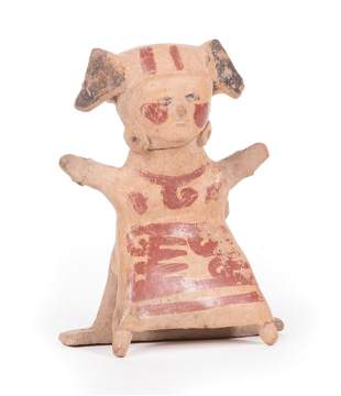 Veracruz Painted Pottery Figure Swinging Female