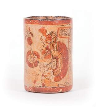 Mayan Painted Cylinder Pottery Vase