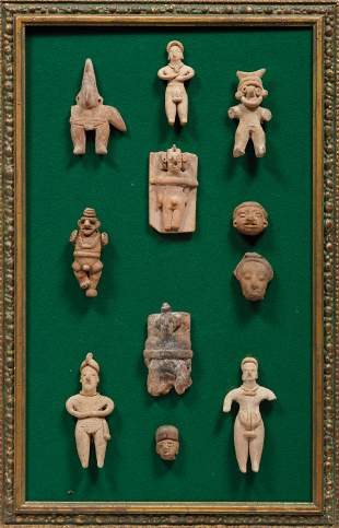 Eleven Framed Pre-Columbian Figures