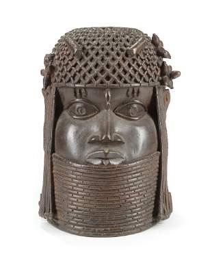 African Benin-Style Bronze Head of an Oba