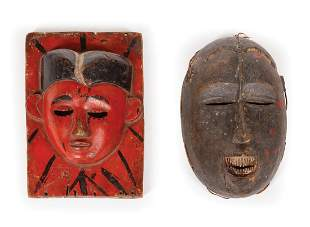Two African Carved and Painted Wood Masks