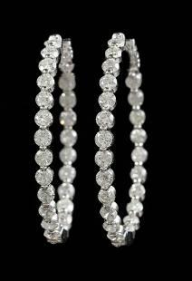 White Gold and Diamond Hoop Earrings