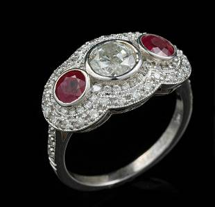 White Gold, Diamond and Ruby Ring