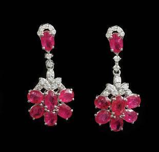 Platinum, Ruby, Diamond Dangle Earrings