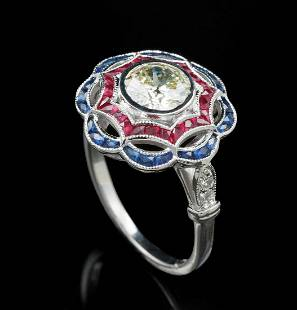 Gold, Diamond, Sapphire and Ruby Ring