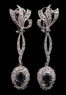 Gold, Sapphire and Diamond Earrings