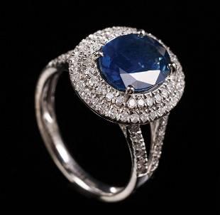 Platinum, Blue Sapphire, Diamond Ring