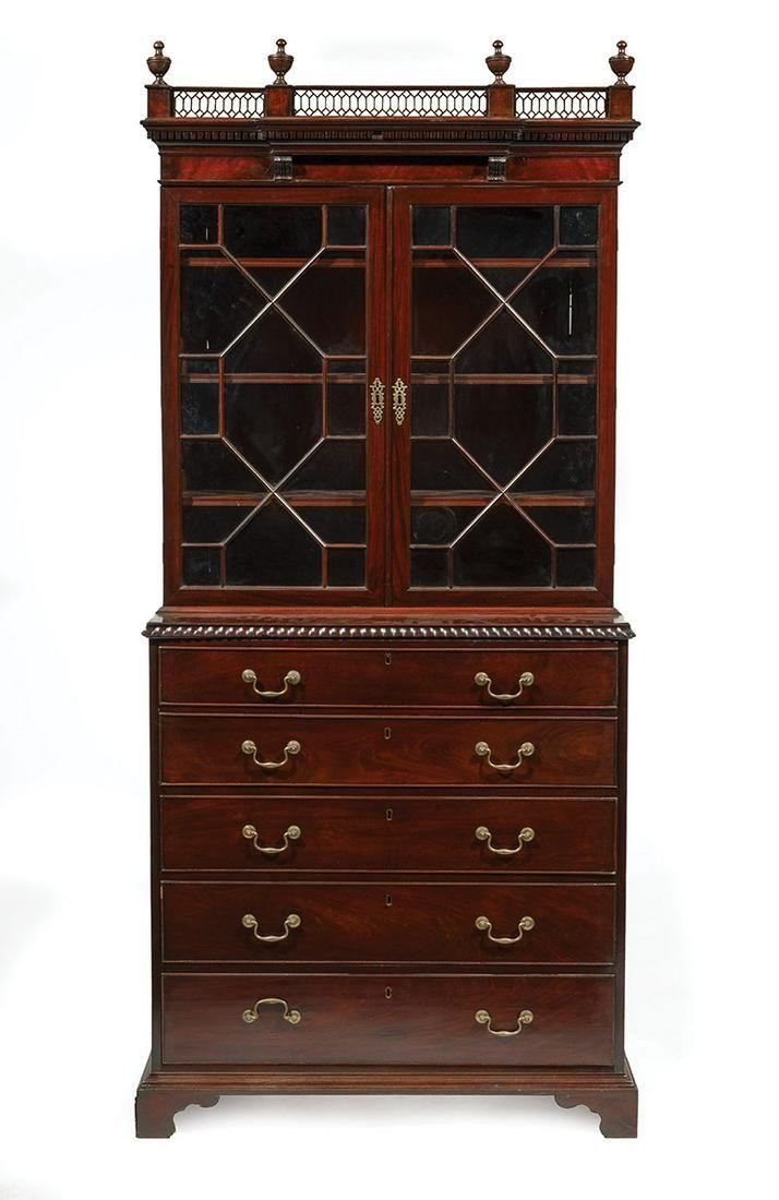 Carved Mahogany Secretary-Bookcase
