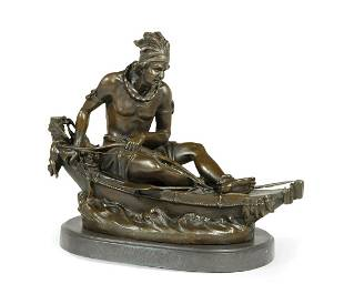 """Bronze after """"Indian Brave in a Canoe"""" by Duchoiselle"""