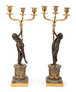 Patinated Bronze and Marble Candelabra