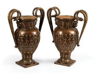 Patinated Bronze Urns