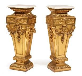 Napoleon III-Style Giltwood Pedestals