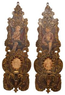 French Carved and Polychromed Sconces