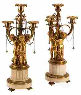 French Bronze and Marble Candelabra