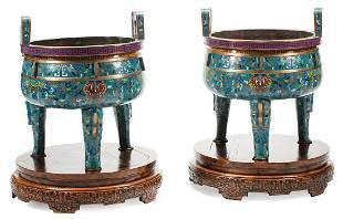 Chinese Cloisonne Enamel Tripod Censers