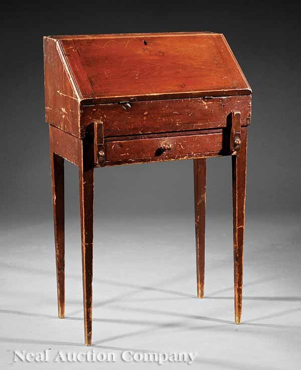 """0004: Early American """"Quaker"""" Red Stained Desk"""