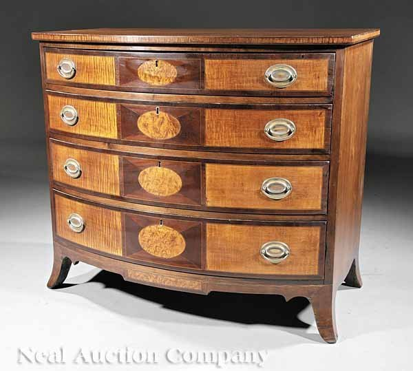 0005: Cherrywood Maple Inlaid Bowfront Chest of Drawers
