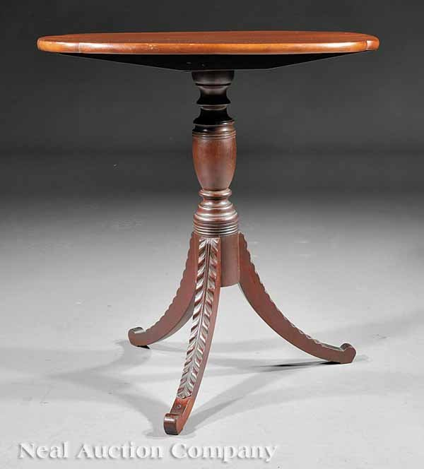 0006: Classical Carved Mahogany Tilt-Top Candlestand