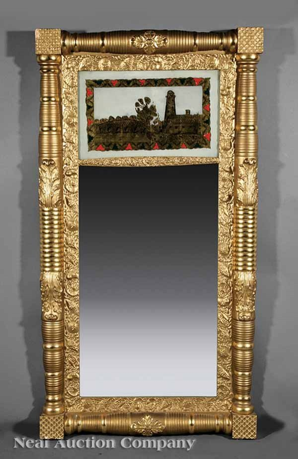 0011: Late Classical Giltwood and Eglomise Pier Mirror