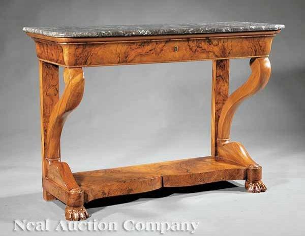 0017: Louis Philippe Figured Walnut Pier Table