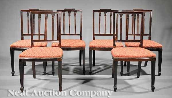 0023: Six Hepplewhite Carved Mahogany Side Chairs