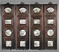 0542: Four Chinese Carved Wood Panels with Plaques